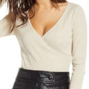 NWT LEITH FAUX WRAP RIBBED SWEATER